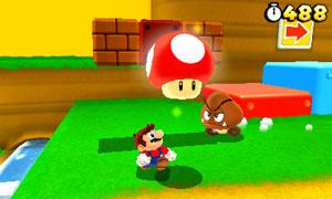 Em 'Super Mario 3D Land', o encanador perde o chapéu e fica menor ao ser atingido por um inimigo (Foto: Divulgação)