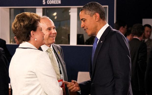 A presidente Dilma Rousseff ao lado do presidente dos Estados Unidos, Barack Obama (Foto: Roberto Stuckert Filho / Presidência)
