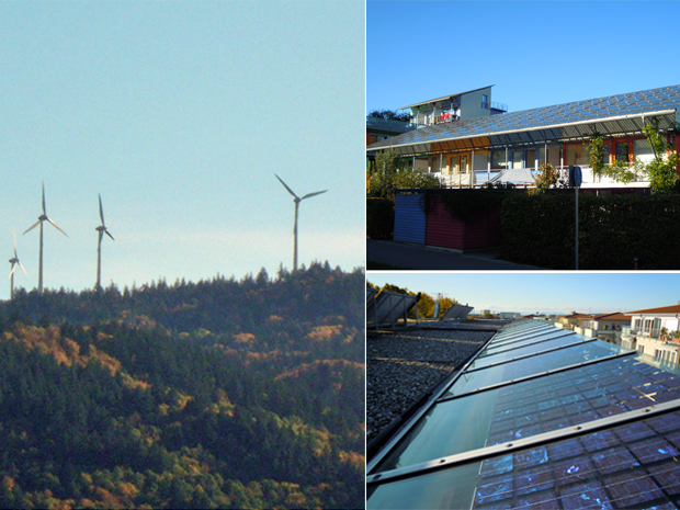 À esquerda, exemplos de turbinas de energia eólica que funcionam em regiões da Alemanha; à direita, casas sustentáveis que são abastecidas com luz solar em bairro de Freiburg. Plano da Alemanha é aumentar para 80% da matriz energética até 2050 o uso de tecnologias limpas (Foto: Eduardo Carvalho/Globo Natureza)
