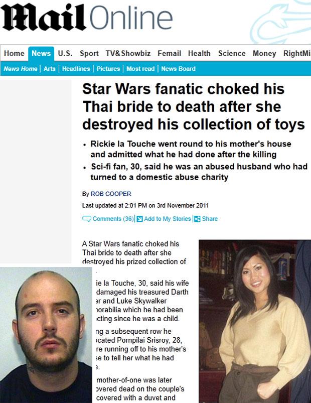 Rickie la Touche disse que a mulher, Pornpilai Srisroy, destruiu seus bonecos para tornar sua vida um inferno (Foto: Reprodução/Daily Mail)