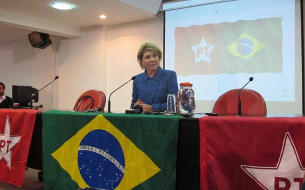 A senadora Marta Suplicy (PT) durante pronunciamento em que anunciou retirada da pré-candidatura à Prefeitura de São Paulo (Foto: Roney Domingos / G1)