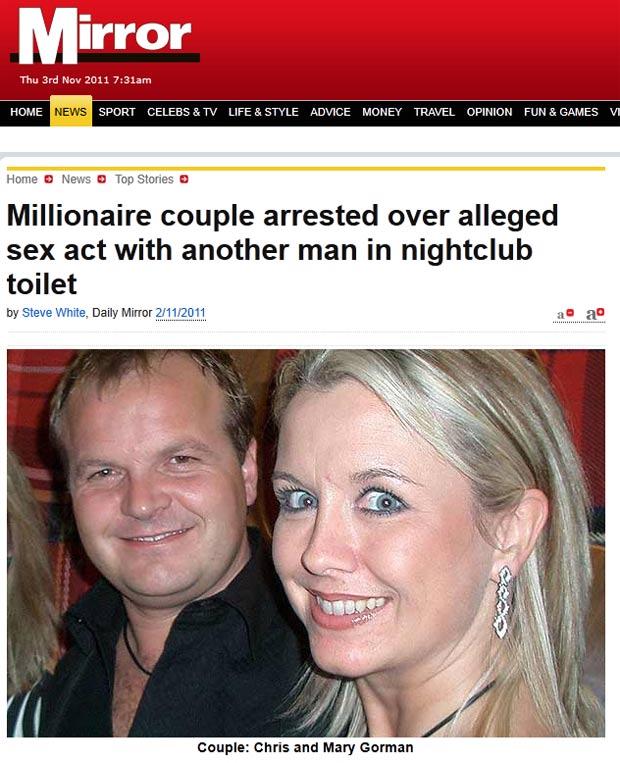 Casal britânico foi detido após suposto ato sexual em banheiro. (Foto: Reprodução/Daily Mirror)