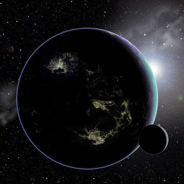 Ilustração de um exoplaneta com luzes artificiais (Foto: David A. Aguilar (CfA))