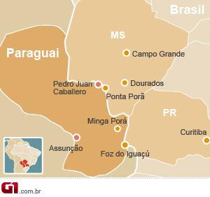 Mapa Pedro Juan Caballero (Foto: Editoria de Arte G1)