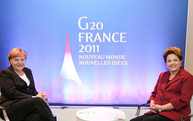 Encontro com Angela Merkel foi primeiro evento de Dilma no G20 nesta sexta. (Foto: Roberto Stuckert Filho / Presidência)