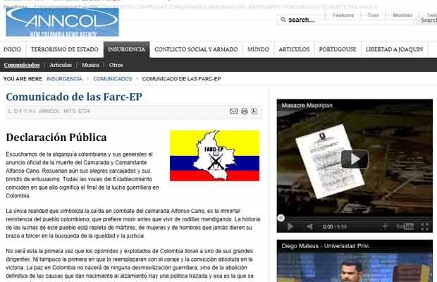 Reprodução do comunicado das Farc no site da agência Anncol (Foto: Reprodução)