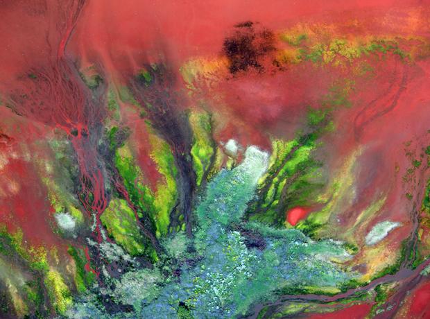 As cores da imagem acima são devido aos resíduos de bauxita, vindos da produção de alumínio em Darrow, Louisiana (Foto: J. Henry Fair 2011/BBC)