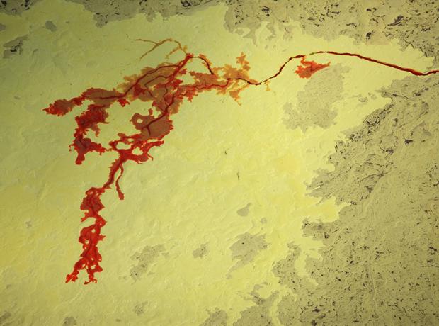 Em outra fotografia, linha vermelha representa rio poluído (Foto: J. Henry Fair 2011/BBC)