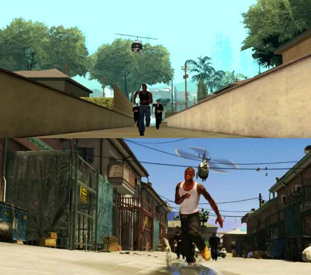 Fã recria vídeo de 'GTA V' usando o game 'GTA: San Andreas', de 2004 (Foto: Reprodução)