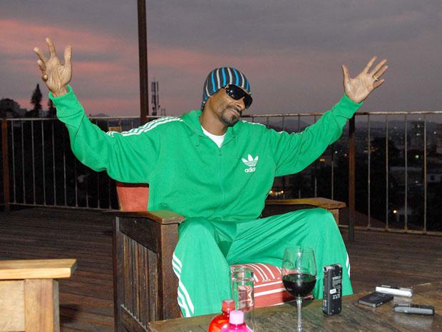 O rapper Snoop Dog durante entrevista coletiva nesta segunda (7), no hotel em que está hospedado no Rio. O músico, que se apresenta na cidade nesta quarta (9), também é uma das atrações do festival SWU.  (Foto: Alexandre Durão/G1)