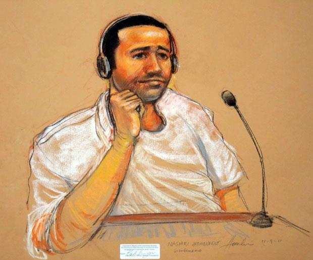 Desenho feito no tribunal reproduz al-Nashiri durante a audi~encia desta quarta (9) (Foto: AP/Janet Hamlin)