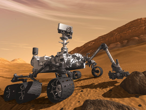 Ilustração de um artista de como será a exploração do Curiosity em Marte (Foto: Nasa/JPL-Caltech)