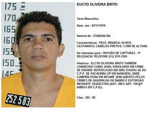 EUCYD OLIVEIRA BRITO (Foto: Reprodução / Site da SSP-SP)