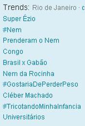 Trending Topics no Rio às 17h40 (Foto: Reprodução)