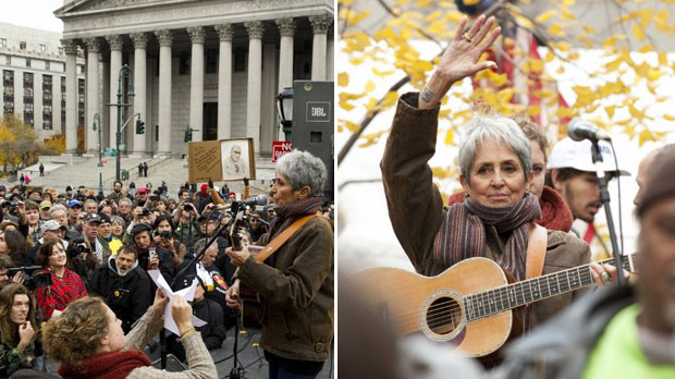 Manifestantes acompanham show da cantora Joan Baez nesta sexta (11) (Foto: AFP)
