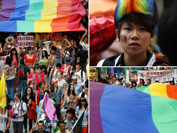 A parada em uma das principais regiões administrativas da China contou com música, danças e faixas pedindo leis que criminalizem a descriminação sexual. (Foto: Dale de la Rey/AFP)