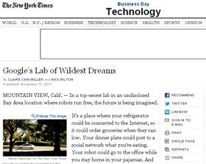 Reportagem do jornal The New York Time dá detalhes sobre o laboratório secreto do Google (Foto: Reprodução)
