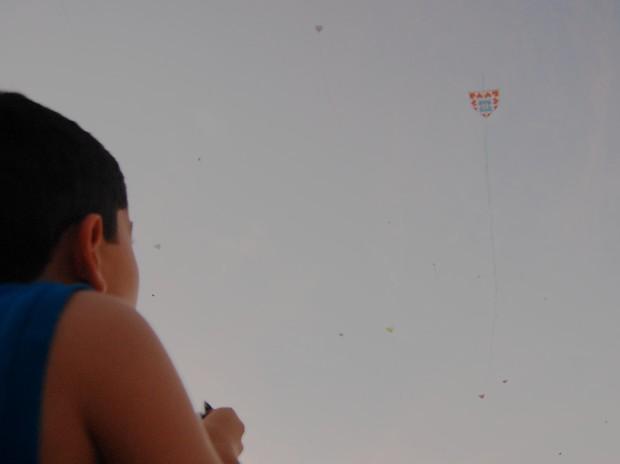Evento lança centenas de pipas no céu do Cabo Branco, na Paraíba (Foto: Krystine Carneiro/G1 PB)