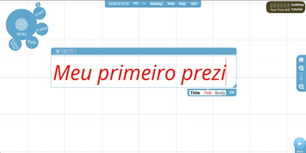 Com o menu de 'bolhas'  possvel adicionar e configurar novos elementos na apresentao (Foto: Reproduo)