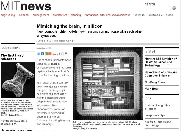 Site do MIT mostra o chip (ao centro) que simula a sinapse (Foto: Reprodução)