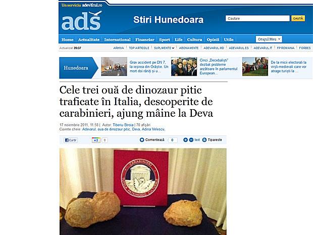 Ovos de dinossauro-anão roubados foram apresentados nesta quinta  (Foto: Reprodução)