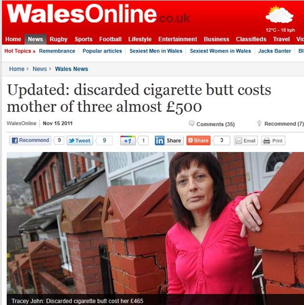 Tracey John foi multada em 465 libras (R$ 1.295) por deixar cair cigarro. (Foto: Reprodução)