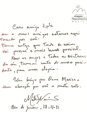 A carta escrita por Milton Nascimento para o ex-presidente (Foto: Reprodução/Instituto da Cidadania)