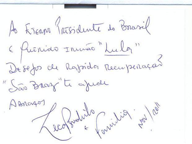 Mensagem enviada por Zeca Pagodinho ao ex-presidente Lula (Foto: Reprodução/Instituto da Cidadania)
