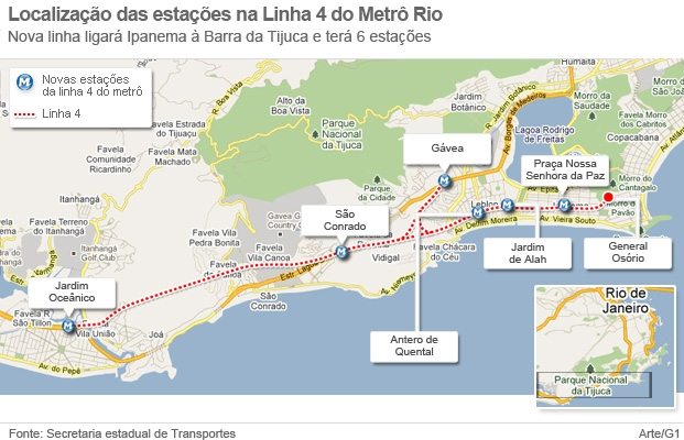 Mapa Linha 4 metrô (Foto: Arte G1)