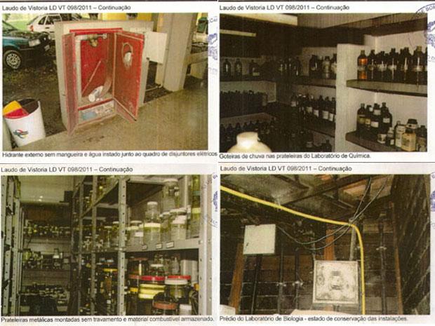 Imagens de problemas de infraestrutura no laudo do Corpo de Bombeiros de Rondônia (Foto: Reprodução)