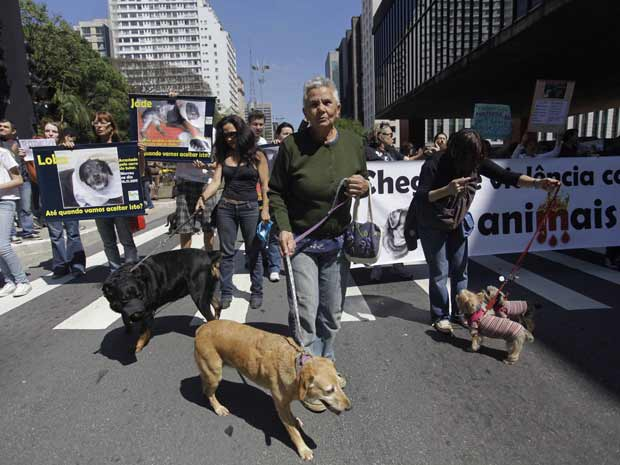 A Avenida Paulista, em São Paulo, foi palco neste domingo de um protesto contra maus-tratos a animais. Os manifestantes levaram faixas, cartazes e seus animais para lembrar o caso do cachorro Lobo, que foi amarrado ao carro de seu dono e arrastado pelo ve (Foto: Nelson Antoine/Foto ArenaAE)
