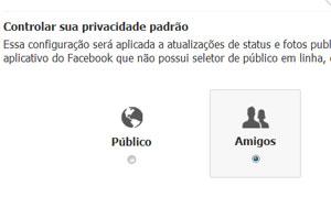 Página de privacidade permite ocultar atualizações antigas e limitar o acesso ao conteúdo novo (Foto: Reprodução)