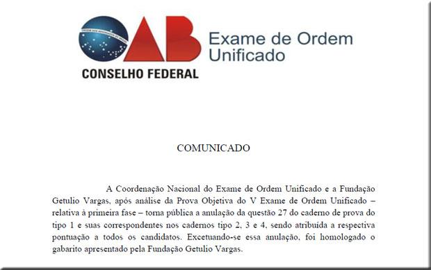 Comunicado da OAB sobre a anulação da questão do V Exame de Ordem (Foto: Reprodução)