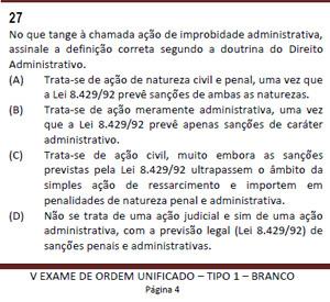 Questão anulada do Exame da OAB (Foto: Reprodução)