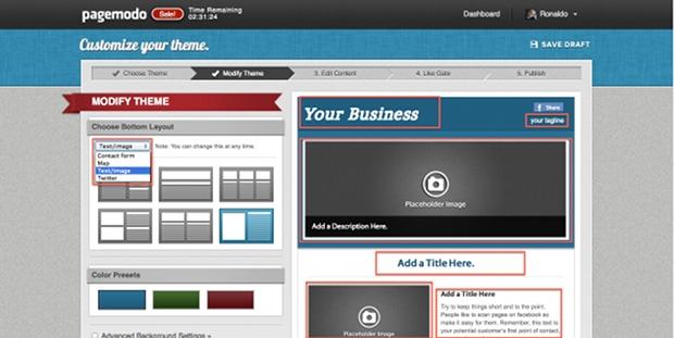 As páginas criadas através do Pagemodo permitem ao usuário selecionar a estrutura mais apropriada para a exibição do conteúdo (Foto: Reprodução)