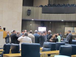 Plenário da Câmara de SP na noite desta quarta-feira  (Foto: Roney Domingos/ G1)