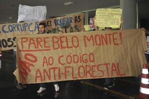 Estudantes protestam no Congresso contra projeto do Código Florestal (Foto: Antonio Cruz / Agência Brasil)