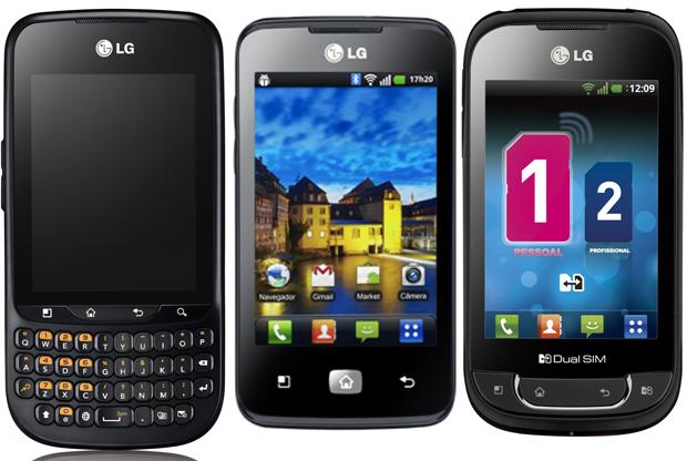 Lançamentos anunciados pela LG nesta quarta-feira (23): LG Optimus Pro C660 (R$ 649), LG Optimus Hub E510 (R$ 799) e LG Optimus Net Dual P698 (R$ 649). Os três funcionam com o sistema Android 2.3 e processador de 800 MHz. O Optimus Pro tem teclado físico QWERTY aliado a tela sensível ao toque e o Optimus Hub traz câmera de 5 Mpixels. O grande diferencial do Net Dual é a capacidade de funcionar com dois chips e o Optimus Hub traz câmera de 5 Mpixels.  (Foto: Divulgação)