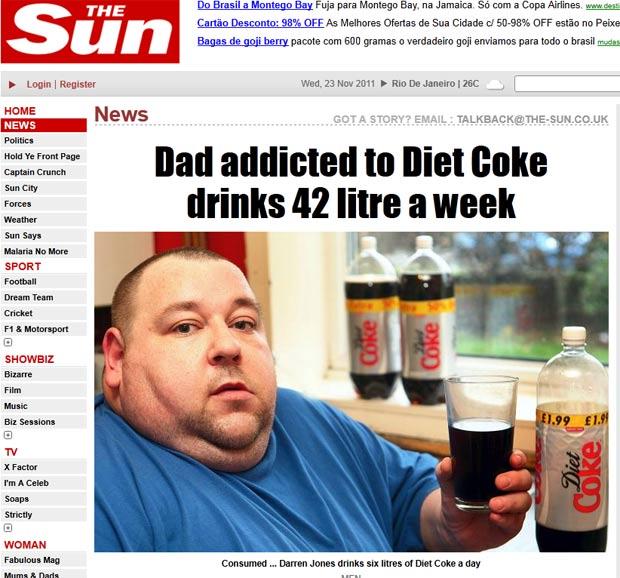 Darren Jones, de 38 anos, bebe 42 litros de Coca-Coca diet por semana. (Foto: Reprodução/The Sun)