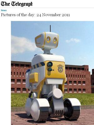 Robô mede 1,5 metros e se move por quatro rodas (Foto: Reprodução)