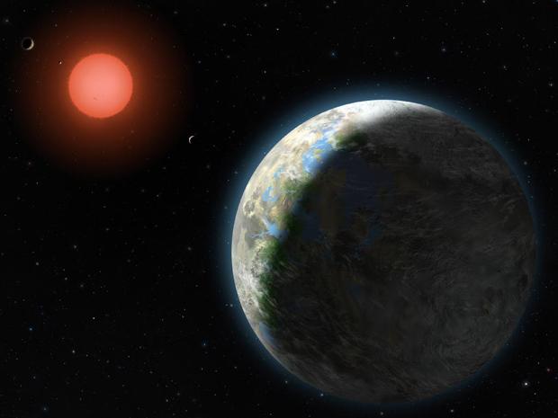 Imagem artística mostra como seria o exoplaneta Gliese 581g. (Foto: Lynette Cook / Nasa)