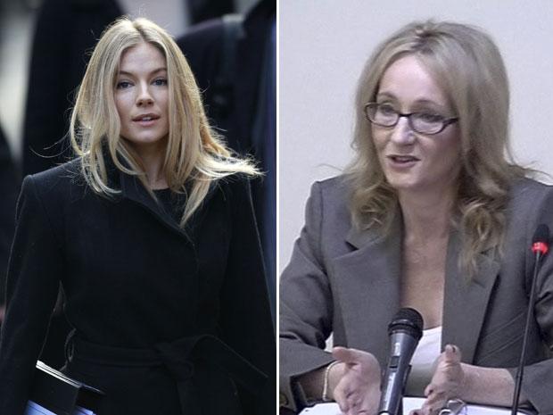 Sienna Miller (esq.) é vista chegando para depor em Londres. À direita, a escritora J. K. Rowling fala à corte londrina em imagem reproduzida de vídeo (Foto: Reuters e AP/vídeo via APTN)