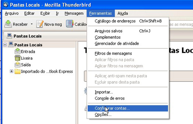 Primeiro passo na configurao do cliente cliente de e-mail da Mozilla (Foto: Reproduo)