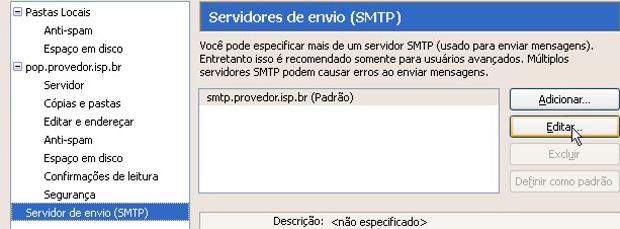 Configuração de servidores de envio (SMTP) do Thunderbird (Foto: Reprodução)