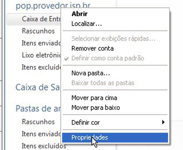 No Windows Mail, clique com o botão direito na conta a ser modificada e selecione Propriedades (Foto: Reprodução)