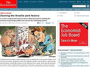 Reportagem sobre Dilma Rousseff no site da revista 'Economist' (Foto: Reprodução)