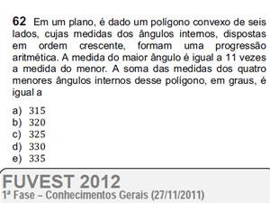 Questão 61 de matemática tem erro no enunciado, segundo professores (Foto: Reprodução)