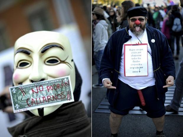 Pessoas 'indignadas' com a corrupção participam de manifestação em Madri, na Espanha, neste domingo (27) (Foto: AFP/Pedro Armestre)