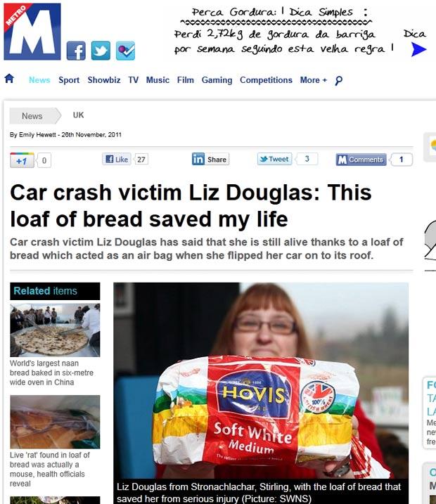 Liz Douglas diz que sobreviveu a um acidente de trânsito graças a um pacote de pão de forma. (Foto: Reprodução/Metro)