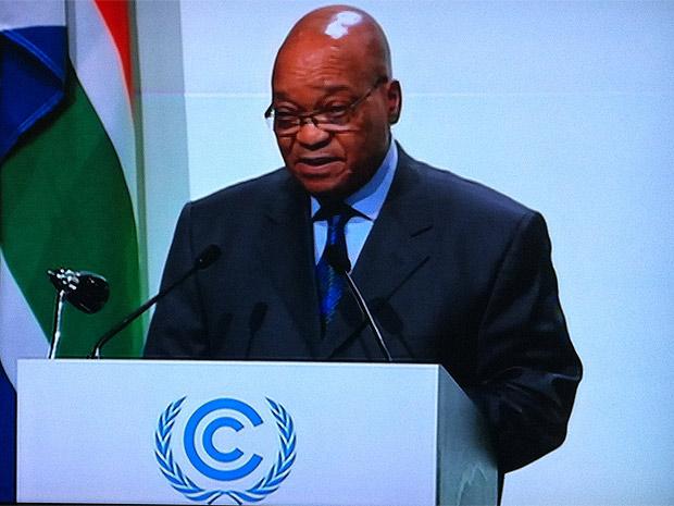 Jacob Zuma fala aos delegados da COP 17. (Foto: Dennis Barbosa/G1)